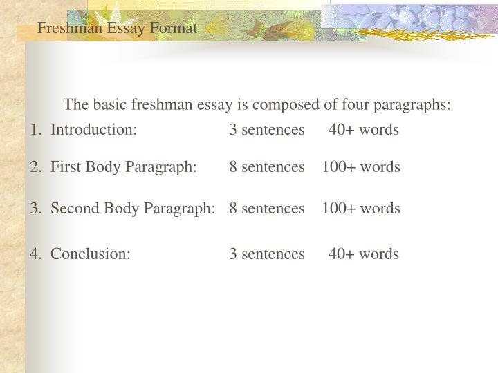 Freshman Essay Format