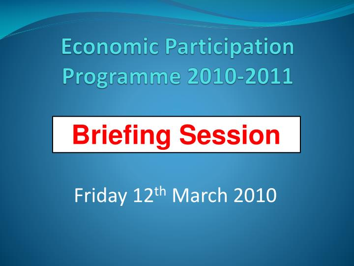 economic participation programme 2010 2011 n.