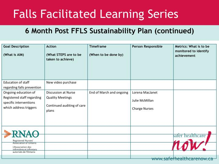 6 Month Post FFLS Sustainability Plan (continued)