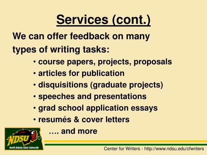 Services (cont.)