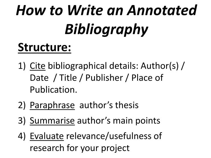 how do i do an annotated bibliography