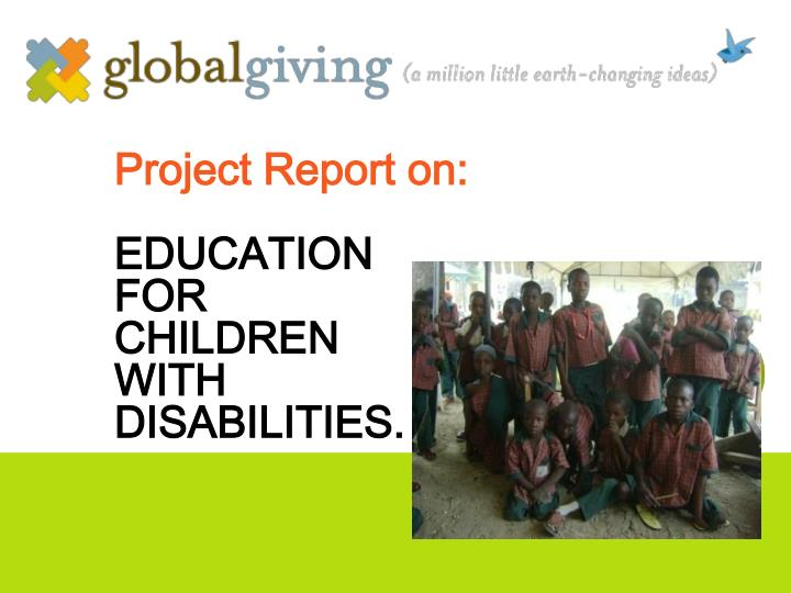 project report on education for children with disabilities n.