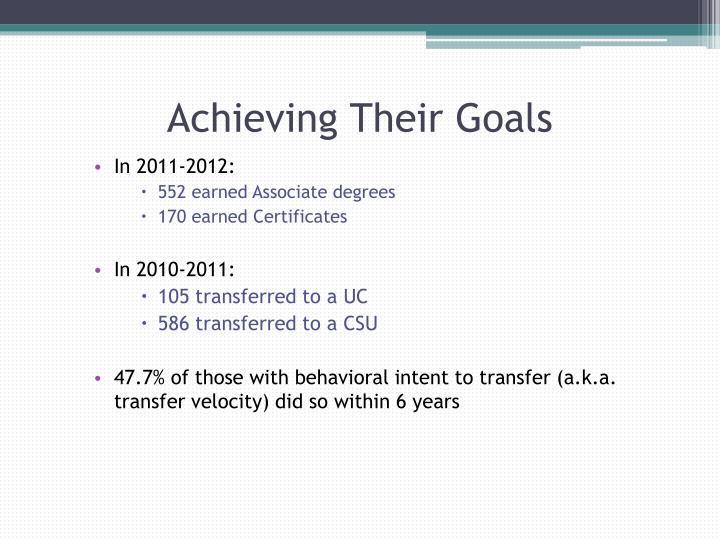 Achieving Their Goals