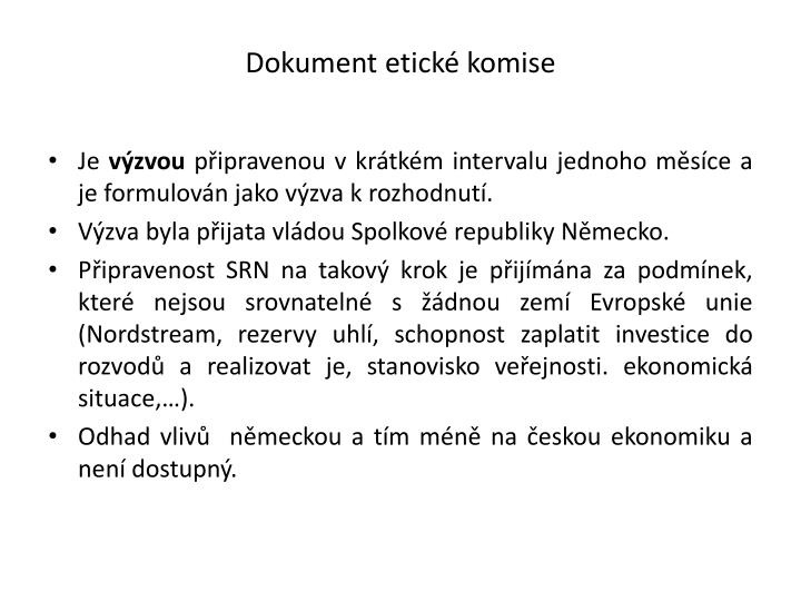 Dokument etické komise