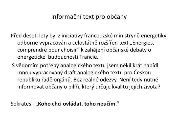 Informační text pro občany
