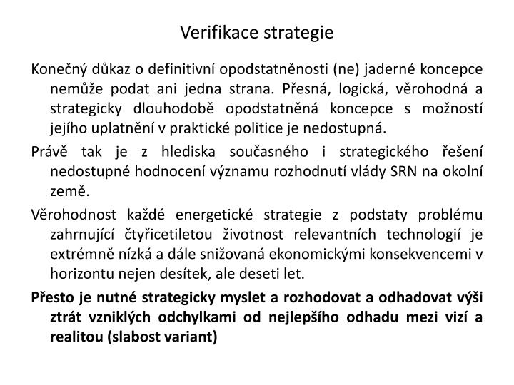 Verifikace strategie