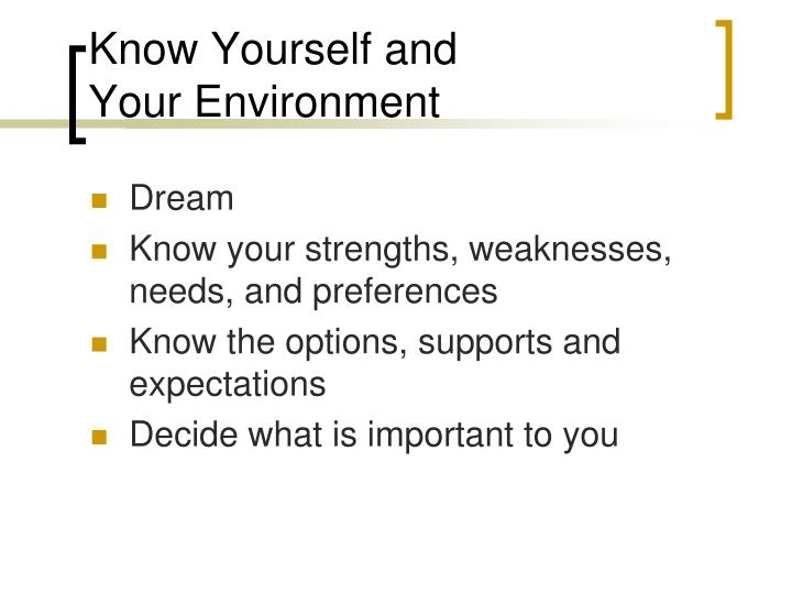 Know Yourself and
