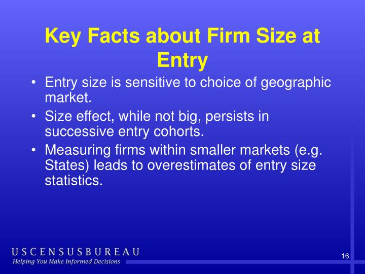 Key Facts about Firm Size at Entry