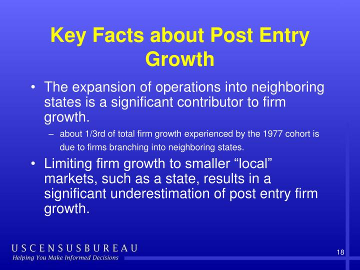 Key Facts about Post Entry Growth
