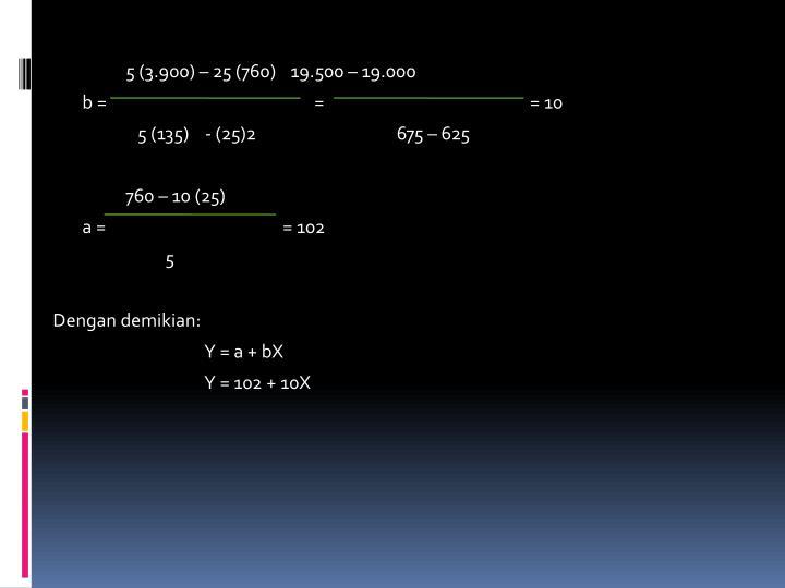 5 (3.900) – 25 (760)   19.500 – 19.000