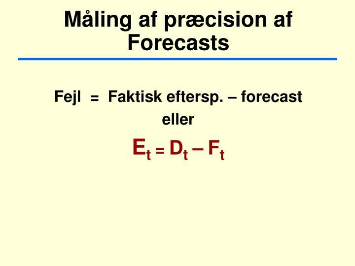 Måling af præcision af  Forecasts