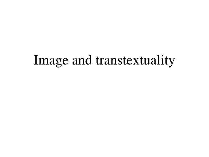 image and transtextuality