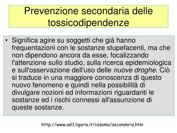 Prevenzione secondaria delle tossicodipendenze