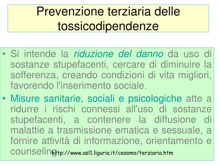 Prevenzione terziaria delle tossicodipendenze