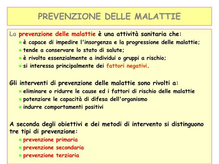 PREVENZIONE DELLE MALATTIE