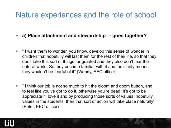 Nature experiences and the role of school