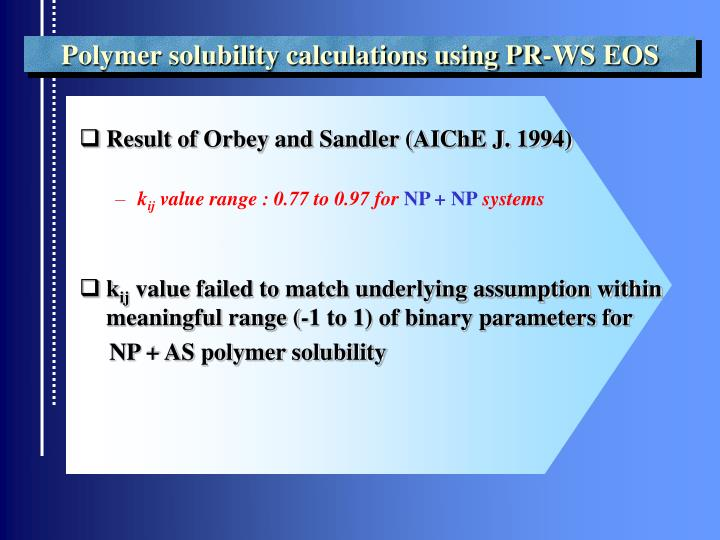 Polymer solubility calculations using PR-WS EOS