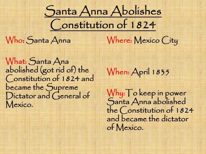Santa Anna Abolishes