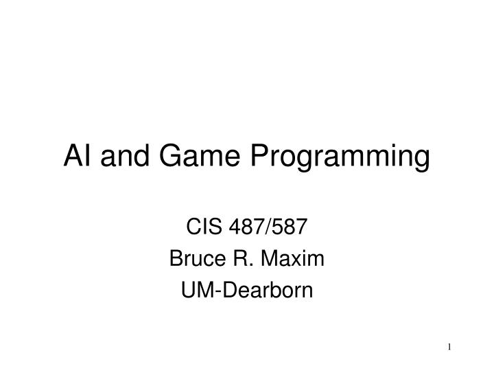 ai and game programming n.