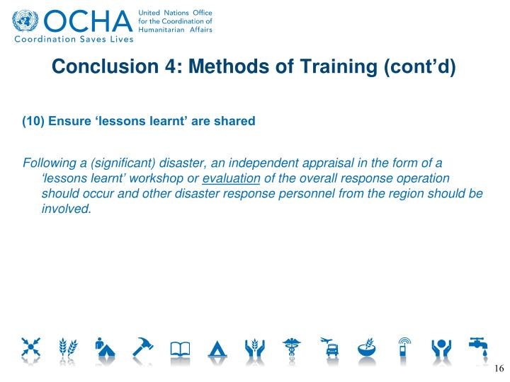 Conclusion 4: Methods of