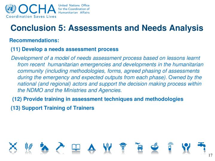 Conclusion 5: Assessments and Needs Analysis