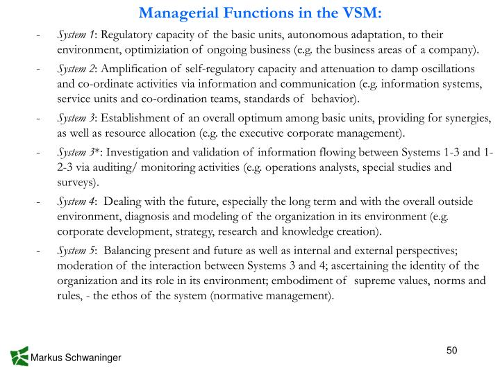 Managerial Functions in the VSM: