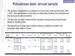 robustness tests annual sample
