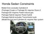 honda sedan constraints