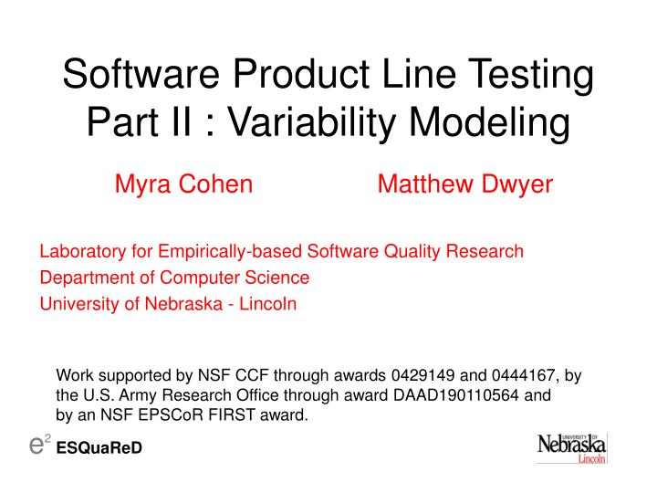 software product line testing part ii variability modeling n.