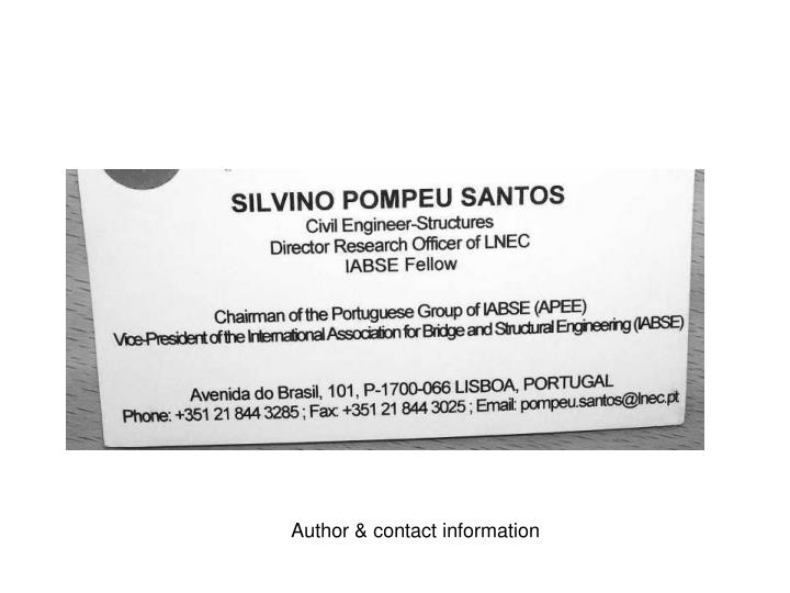 Author & contact information