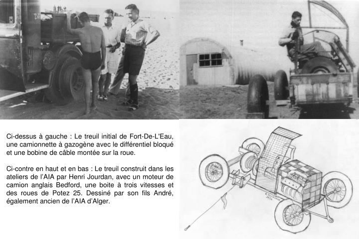 Ci-dessus à gauche : Le treuil initial de Fort-De-L'Eau,  une camionnette à gazogène avec le différentiel bloqué et une bobine de câble montée sur la roue.