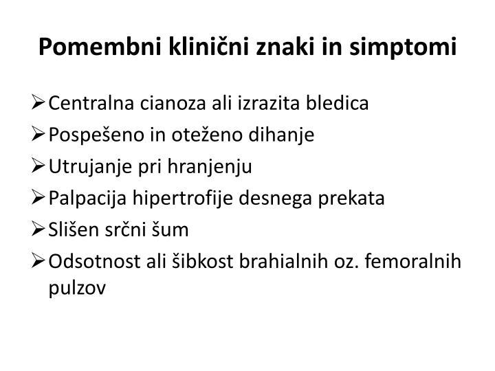 Pomembni klinični znaki in simptomi