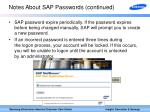 notes about sap passwords continued