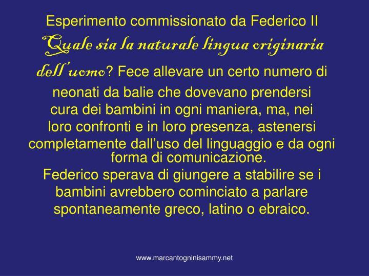 Esperimento commissionato da Federico II