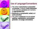 use of language conventions