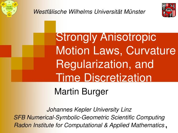 strongly anisotropic motion laws curvature regularization and time discretization n.