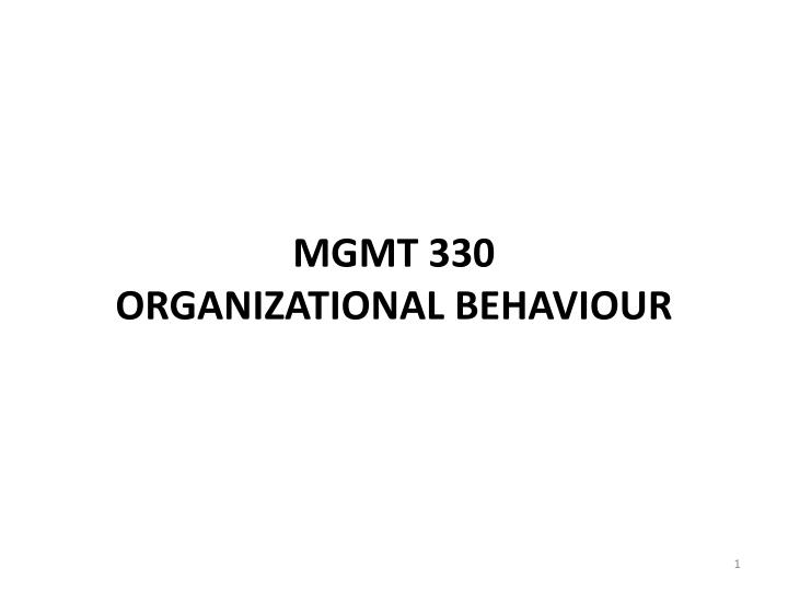 mgmt 330 organizational behaviour n.