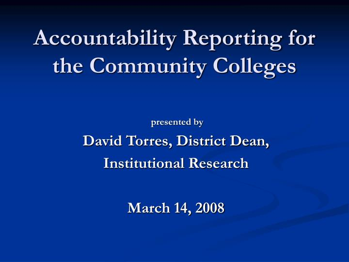 accountability reporting for the community colleges n.