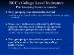 rcc s college level indicators peer grouping issues to consider