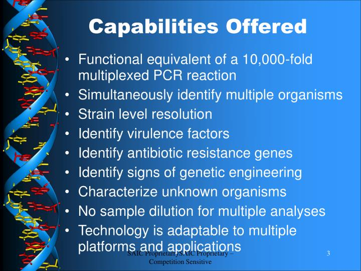Capabilities offered