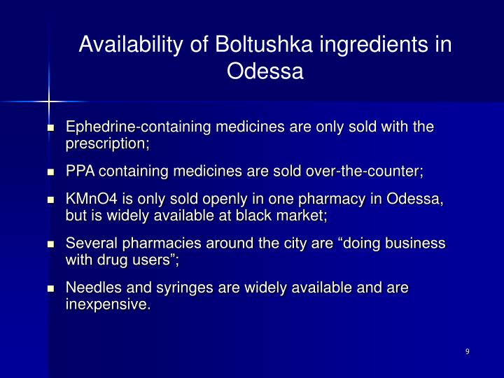 Availability of Boltushka ingredients in Odessa