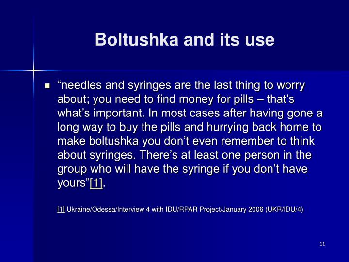 Boltushka and its use