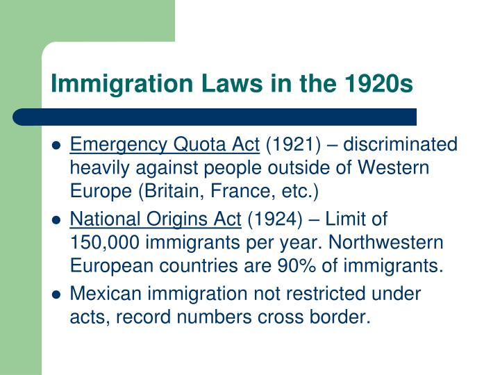 the effect of the the emergency quota act on the immigration in the 1920s The national origins act of 1924 was a component of the immigration act of 1924 that established a quota system for determining how many immigrants could enter the united states, restricted by country of origin.