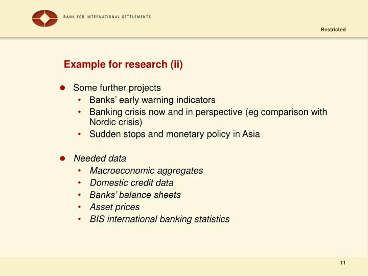 Example for research (ii)