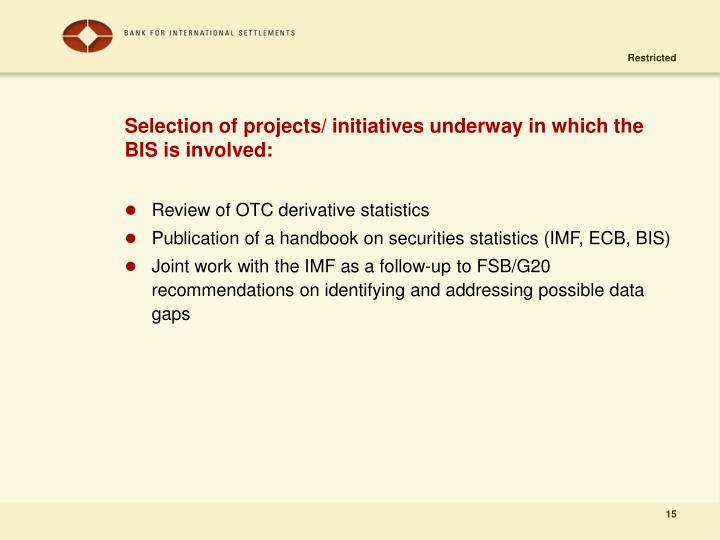 Selection of projects/ initiatives underway in which the BIS is involved: