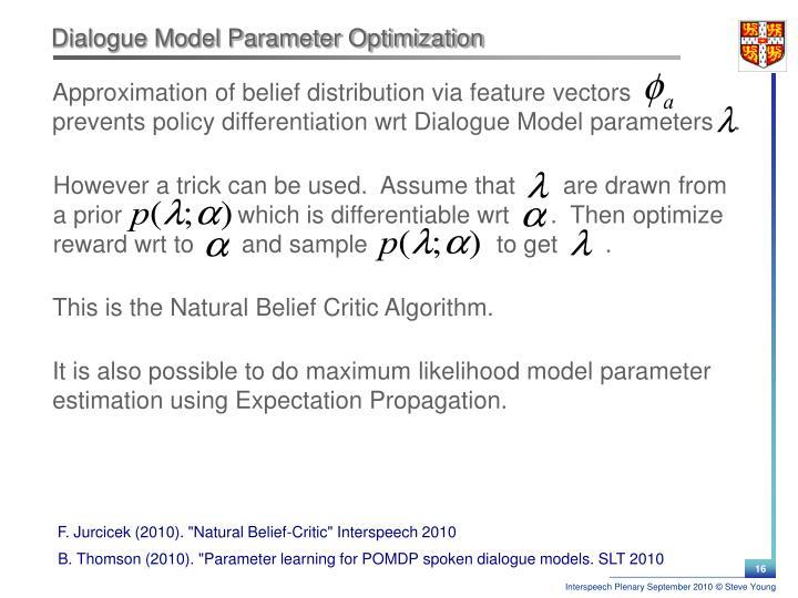 Dialogue Model Parameter Optimization