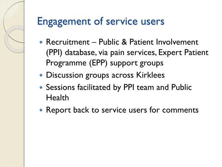 Engagement of service users
