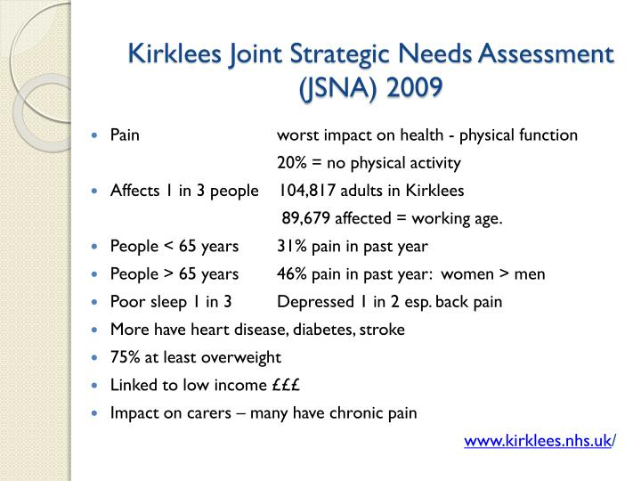 Kirklees Joint Strategic Needs Assessment (JSNA) 2009