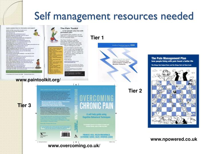 Self management resources needed