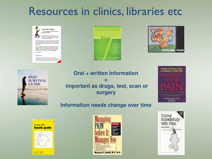 Resources in clinics, libraries etc